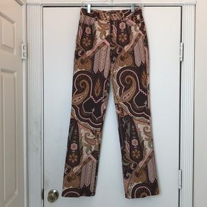 Mod Boho slim pants pink brown paisley size 4